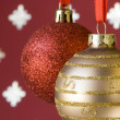 Christmas ball background (selective and soft focus) - Stock fotografie