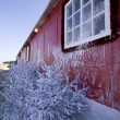Red winter house - Stock Photo