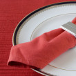 Napkin on the plate - Stock Photo
