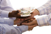 Receiving the money — Stockfoto