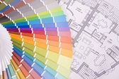 Colorful palette over a blueprint — Stock Photo