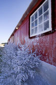 Red winter house — Stock Photo