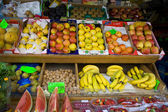 Barcelona Boqueria market fruits display — Stock Photo