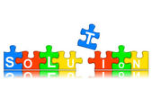Combined multi-color puzzle - solution concept — Stock Photo
