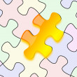 Stock Photo: Glossy yellow puzzle on paper