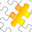 Glossy yellow 3d puzzle on paper — Stock Photo #10252324