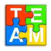 Combined multi-color puzzle - team concept 2 — Stock Photo