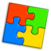 Combined multi-color puzzle 2 — Stock Photo