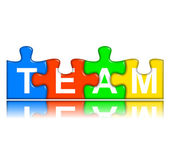 Combined multi-color puzzle with reflection - team concept — Stock Photo