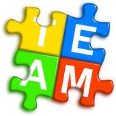 Combined multi-color puzzle - team concept — Stock Photo