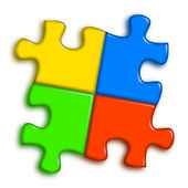Combined multi-color puzzle — Stock Photo