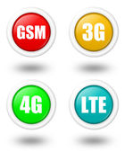 LTE, 4G, 3G and GSM icon with shadow — Stock Photo
