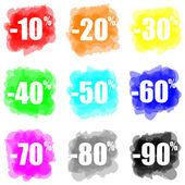 Definir o conceito de desconto splat pintura colorida — Foto Stock