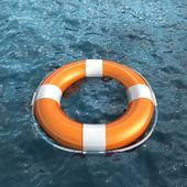 Realistic lifebuoy on water — Stock Photo