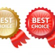 Stock Vector: Best Choice Label With Ribbons