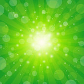 Green Sunburst Background — Stock Vector