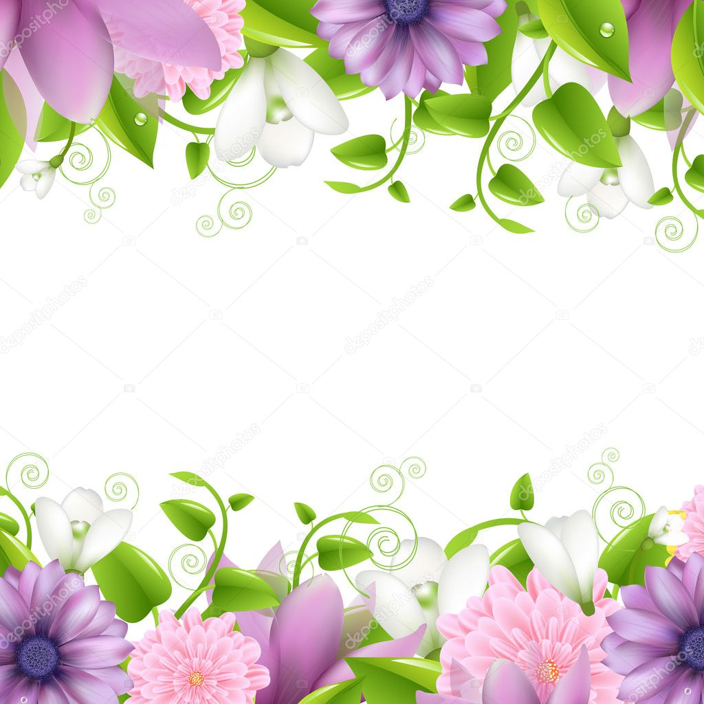 Summer illustration With Flowers, Isolated On White Background, Vector Illustration — Stock Vector #10675655