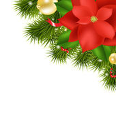 Xmas Composition With Red Poinsettia — Stock Vector