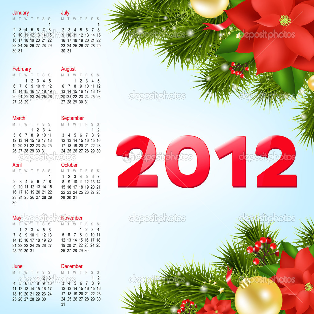 Calendar 2012, Vector Illustration — Stock Vector #8131516