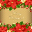 Xmas Card With Poinsettia -  