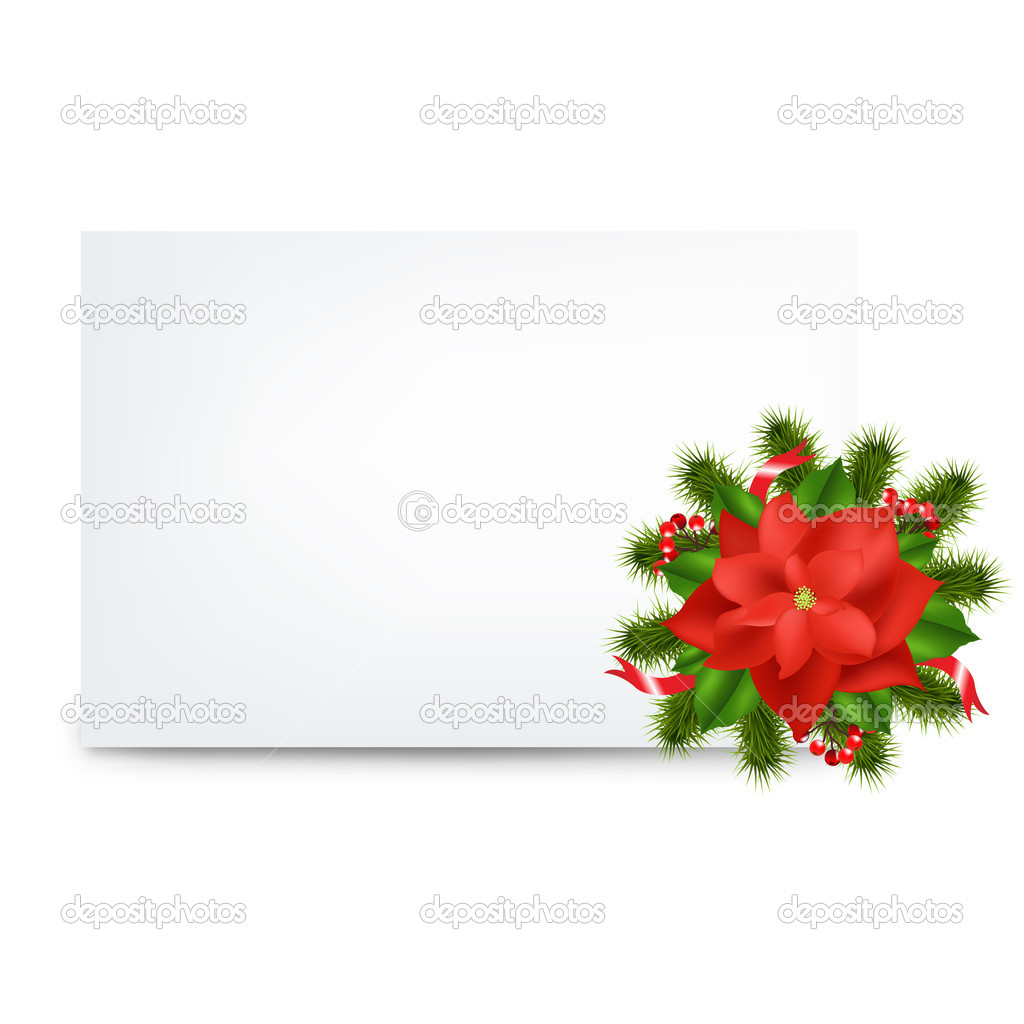 Blank Gift Tag And Pointsettia, Isolated On White Background, Vector Illustration — Векторная иллюстрация #8245310