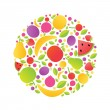 Sphere From Fruit - Stock Vector