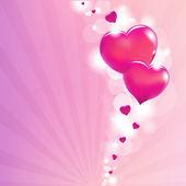 Valentines Hearts And Sunburst — Stock Vector