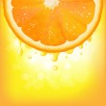 Orange Segment With Juice And Bokeh — Stock Vector