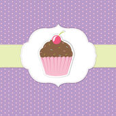 Vintage Cupcake Sticker — Stock Vector