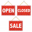 Open And Closed Signs — Stock Vector