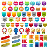 Big Collection Sale Stickers And Web Ribbons Set — Stock Vector