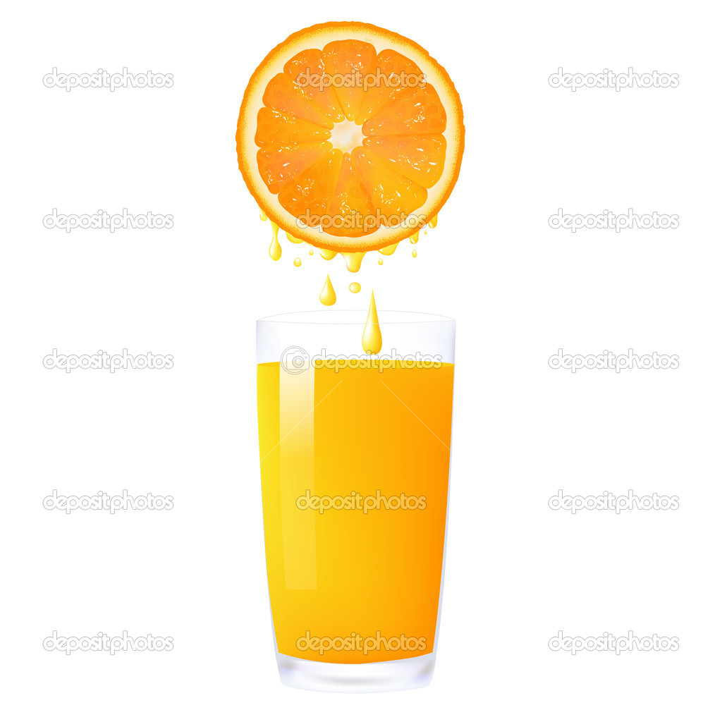Orange Juice From Orange Into Glass, Isolated On White Background, Vector Illustration — Stock Vector #9938126