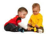 Playing with blocks children — Stock Photo