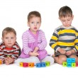 Playing blocks with friends — Stock Photo