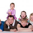 Smiling family of six — Stock Photo