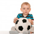 Little boy with a big toy ball — Stock Photo #8143654