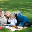 Mom reading to her family outside — Stock Photo