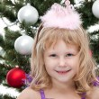 Little princess at the carnival christmas ball — Stock Photo