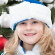 Snow Maiden at the christmas tree — Stock Photo