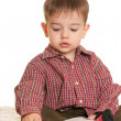 Stock Photo: Young learner at book