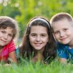 Three kids on the grass — Stock Photo #8144066