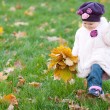 Royalty-Free Stock Photo: Toddler walking on the autumn meadow