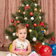 Pretty little girl waiting for Santa — Stock Photo