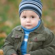 Closeup portrait of a little boy in the autumn park — Stock Photo