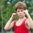 Trained young fighter - Foto Stock