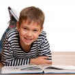Smiling little reader — Stock Photo