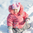 Little girl discovering snow — Stock Photo