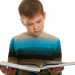 Closeup portrait of a reading kid in casual isolated on white — Stock Photo