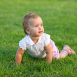 Royalty-Free Stock Photo: Surprised toddler is lying on the grass