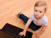 Little computer user — Stock Photo